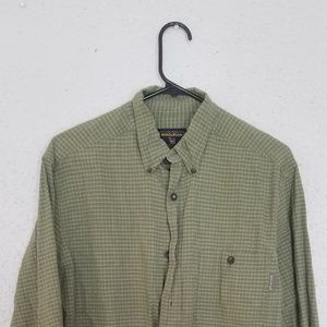 Vtg Woolrich Mens Green Plaid Button Down Sz M